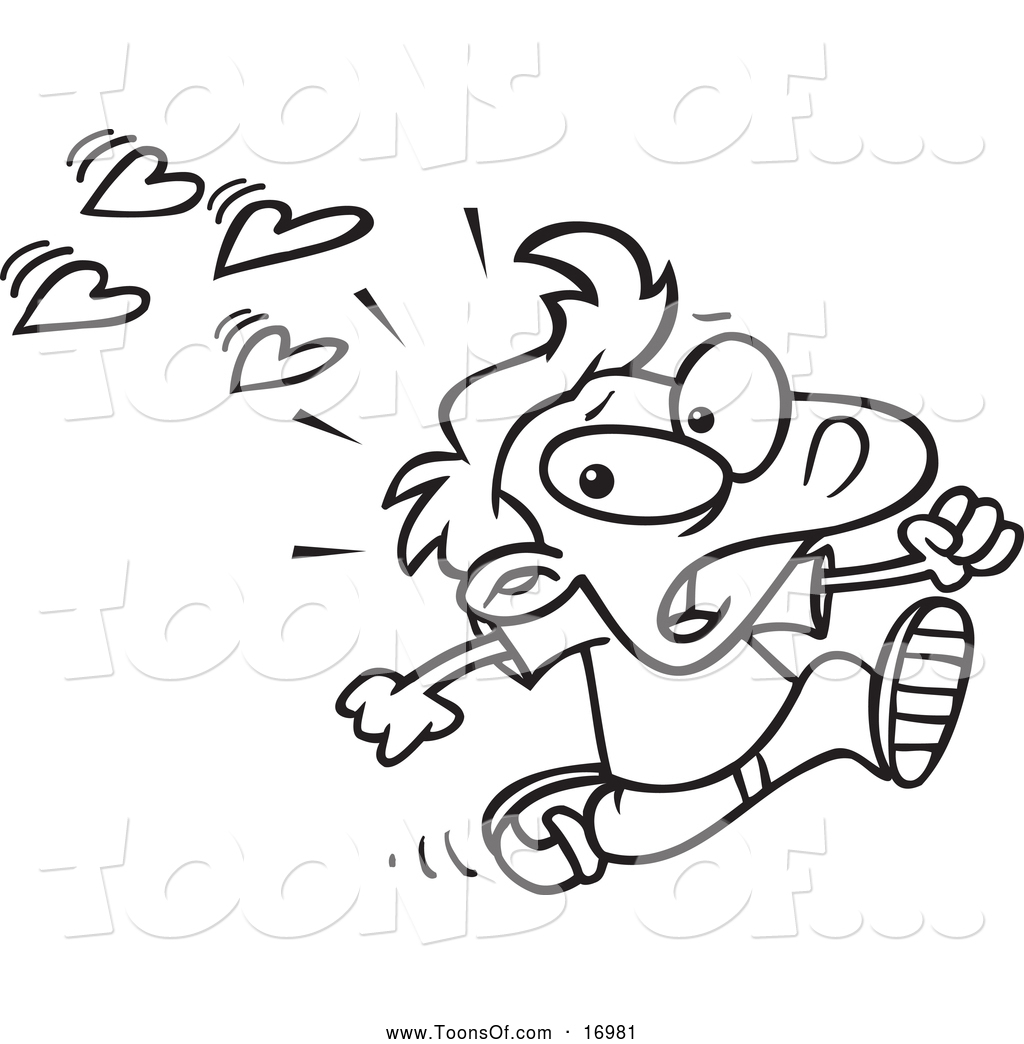 Clipart of a Black and White Scared Boy Fleeing from Love by Ron.