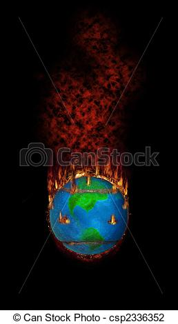 Clip Art of Burning Fleecy Tennisball Globe.