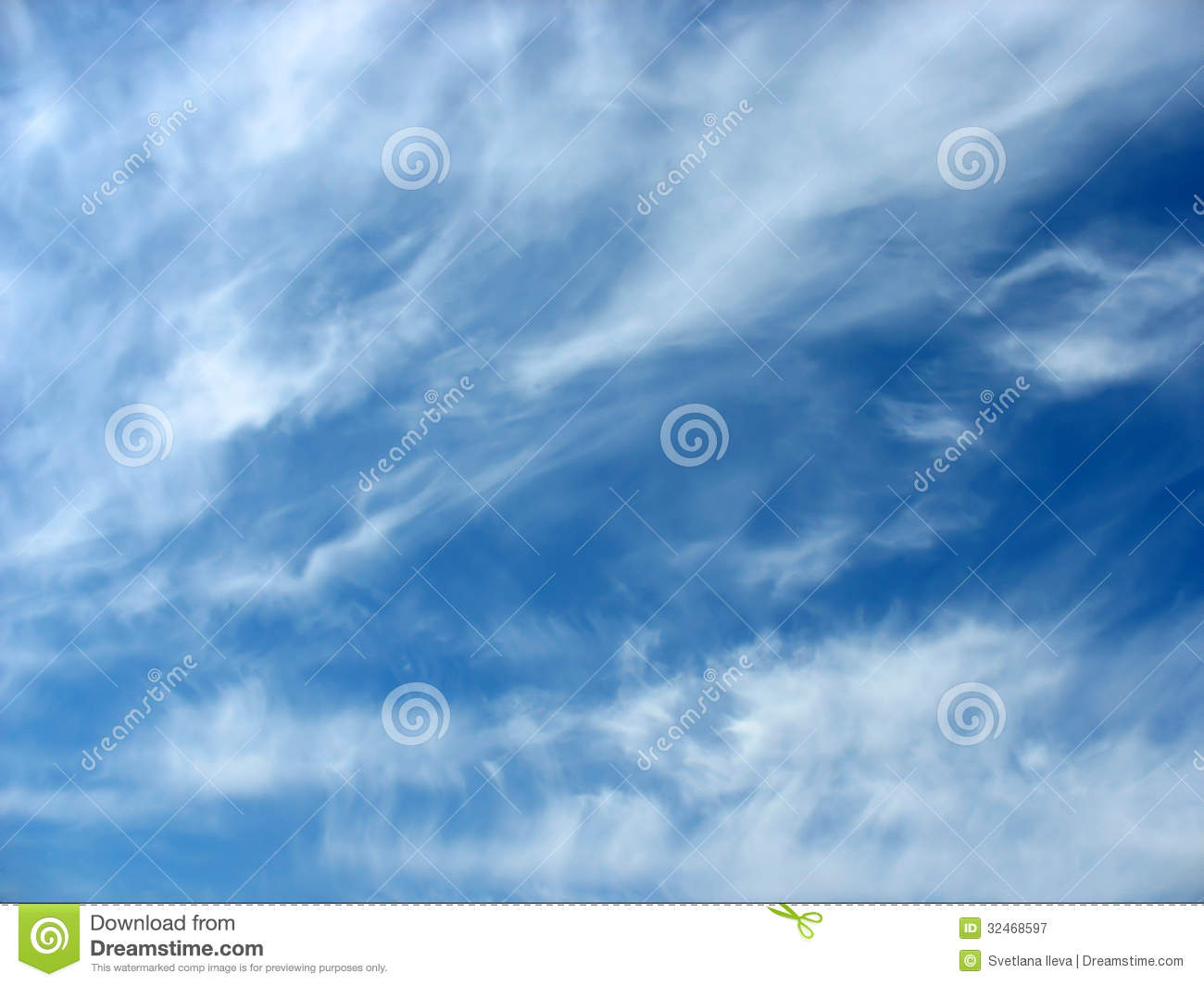 Blue Sky Background With Wavy Fleecy Clouds Royalty Free Stock.