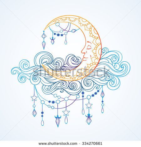 Crescent In Patterned Fleecy Clouds With Pendants, Crystals And.