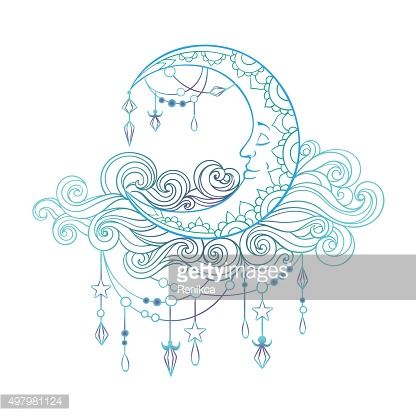 Crescent In Patterned Fleecy Clouds With Pendants Crystals And.