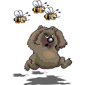 Bear Fleeing Bees clipart, cliparts of Bear Fleeing Bees free.