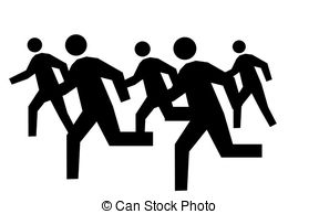 Clipart people running group.