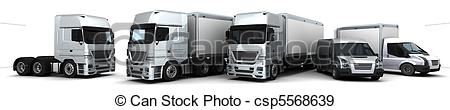 Stock Illustration of Fleet of Delivery Vehicles.