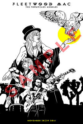 FLEETWOOD MAC 12x18 TOUR CONCERT POSTER LOS ANGELES THE FORUM STEVIE NICKS  1.