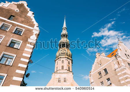 Two Steeple Church With Blue Sky Stock Photos, Royalty.