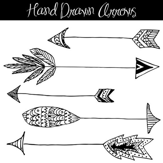 CLIP ART: Hand Drawn Arrows // Native American Style // Feathers.
