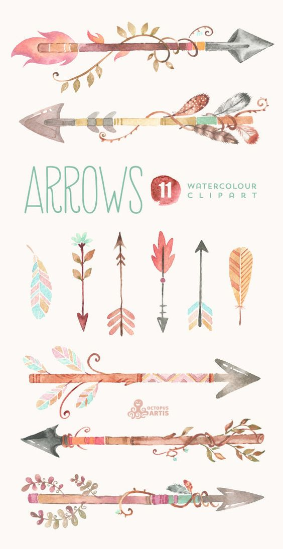 Arrows Watercolour Clipart. 11 Hand painted by OctopusArtis.