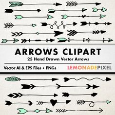 arrows clip art, tribal arrow clipart, archery hand drawn arrows.
