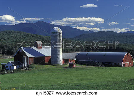 Picture of Vermont, VT, Red barn at Tinker Farm and view of Mt.