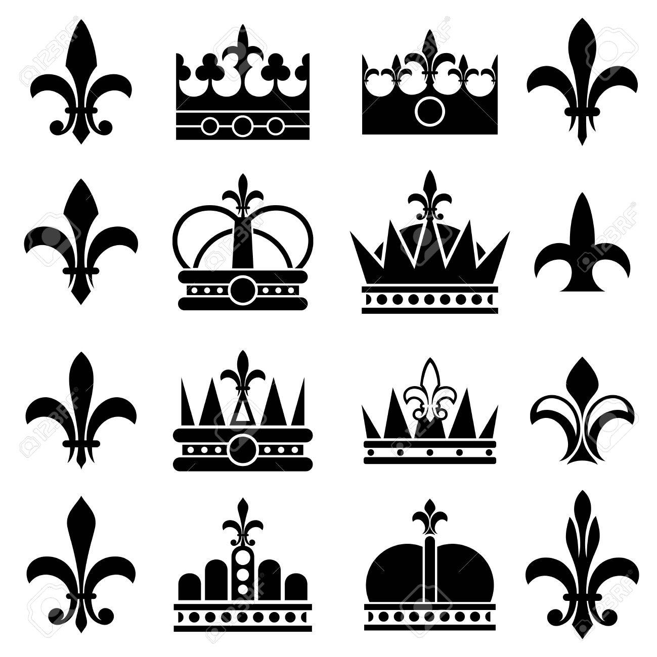 Crown and fleur de lis, lily flowers royal vector icons.