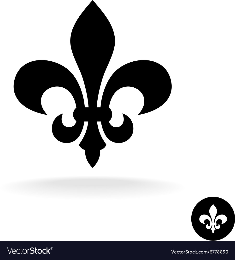 Fleur de lis simple elegant black silhouette logo.