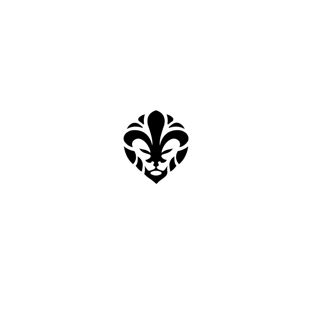 SOLD: Fleur De Lio, Lion Fleur de Lis Logo Design.