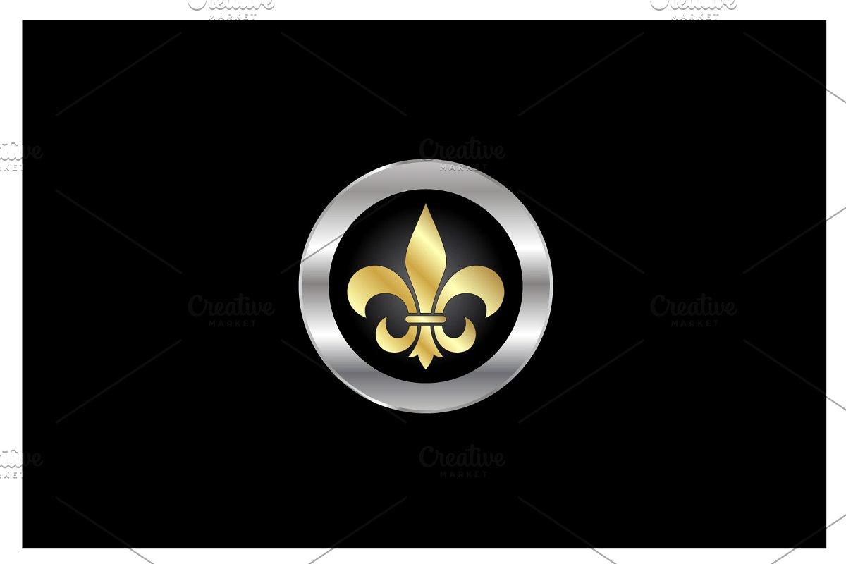 Gold Silver Fleur de Lis symbol Logo.