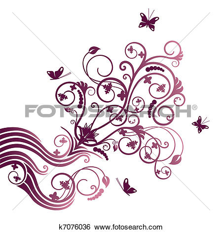 Clipart of Pink vector flowers border k2907820.