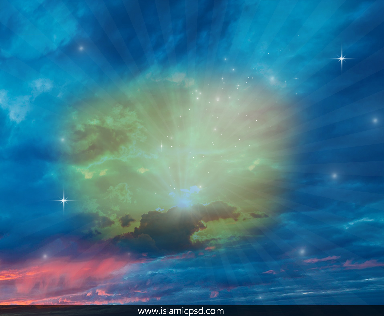 islamic flex background full hd blue color.