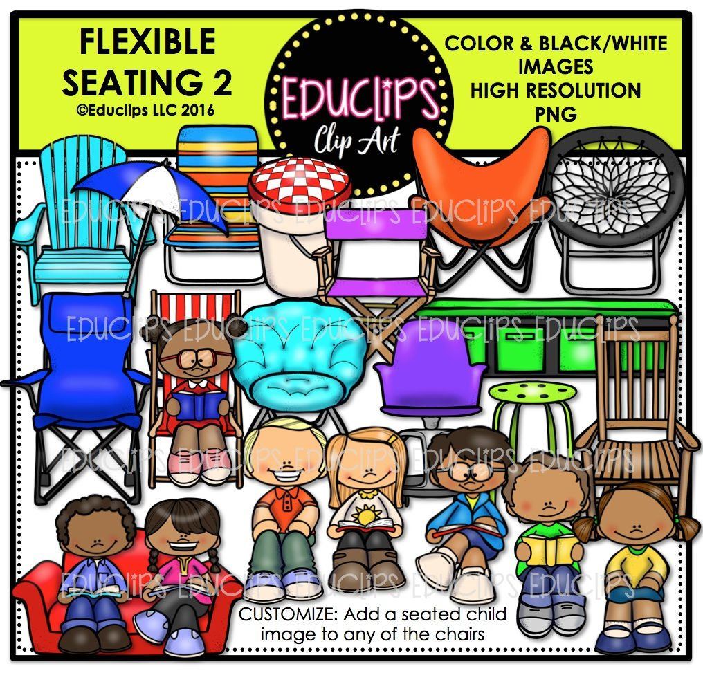 Flexible Seating 2 Clip Art Bundle (Color and B&W).