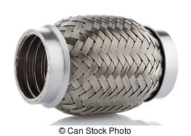 Stock Photography of Flexible tube connection to the car exhaust.
