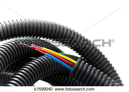 Stock Photography of stripped copper cable inside a black flexible.