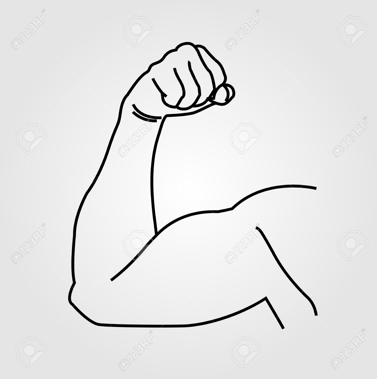 Abstract drawing of a man's arm flex.