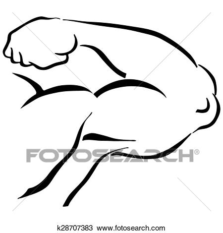 Strong Man Flexing Arm Clipart.