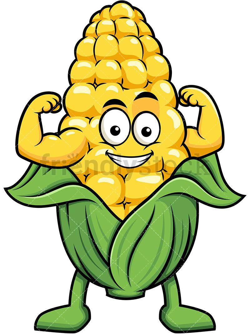Corn Mascot Flexing Its Muscles.
