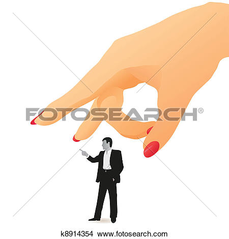 Clipart of Woman`s flick on a little man k8914354.
