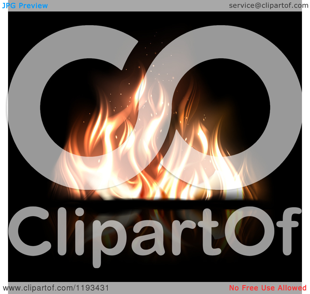 Clipart of a Fire with Flickering Flames on Reflective Black.