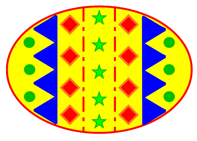 Easter Egg clipart, colour 11 cm wide.