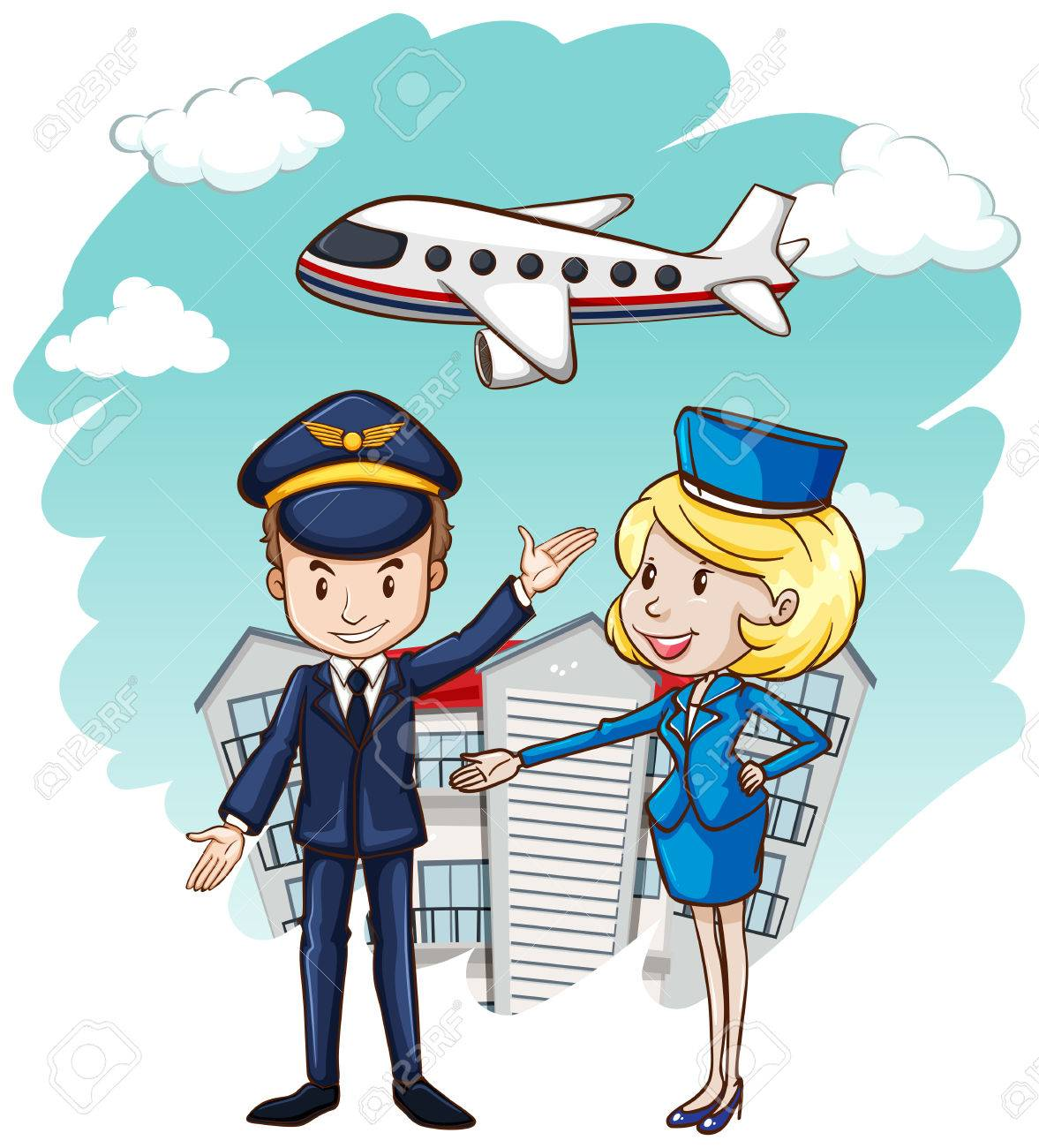 Pilot and flight attendant with airplane in background illustration.