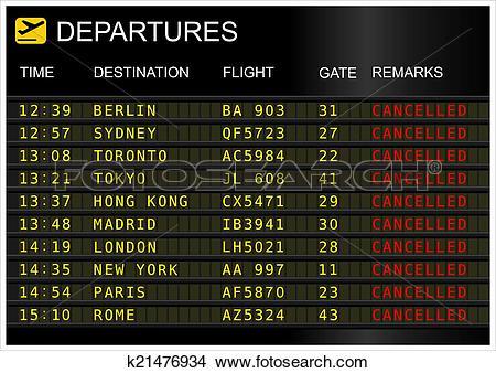 Drawings of Flight departures board. k21476934.