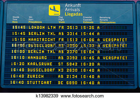 Stock Photograph of arrival information flight board at the.