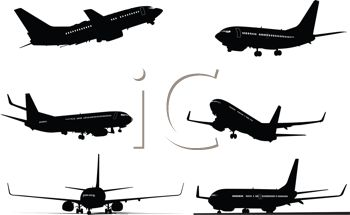 Royalty Free Clipart Image: Silhouette Collection of Airplanes in.