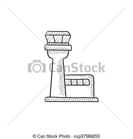 Clipart Vector of Flight control tower sketch icon..