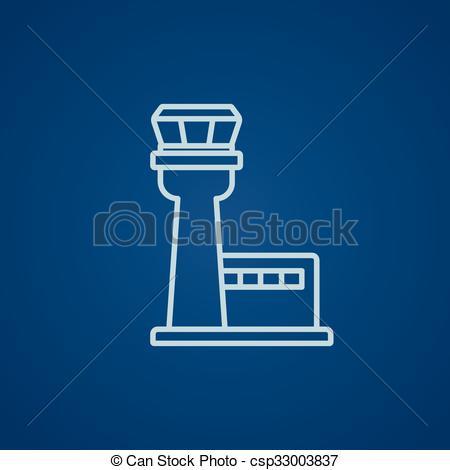 Vectors of Flight control tower line icon..