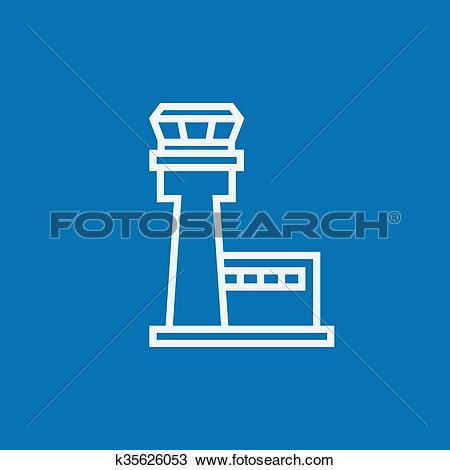 Clipart of Flight control tower line icon. k35626053.