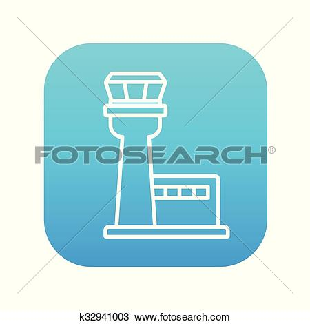 Clipart of Flight control tower line icon. k32941003.