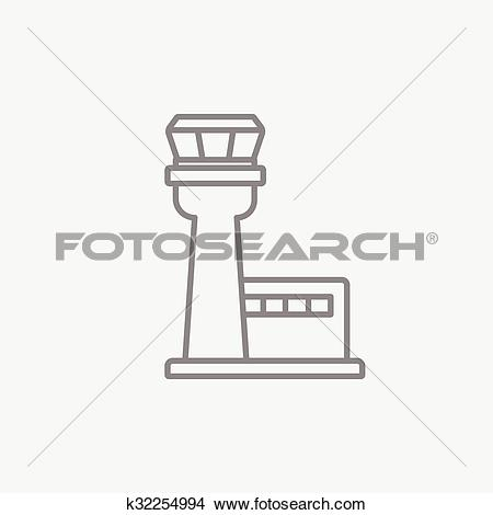 Clipart of Flight control tower line icon. k32254994.