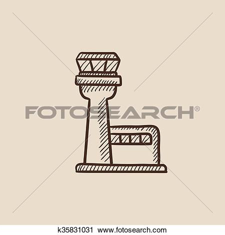 Clipart of Flight control tower sketch icon. k35831031.