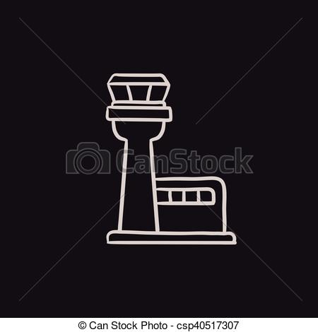 Vector Clipart of Flight control tower sketch icon..