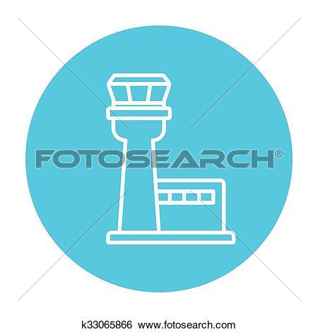 Clip Art of Flight control tower line icon. k33065866.