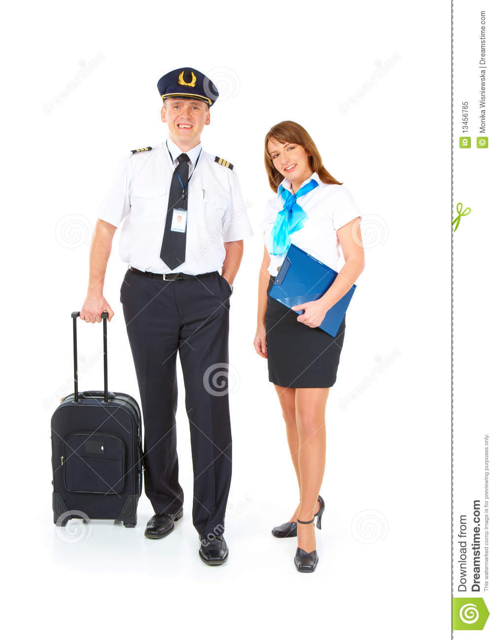 Flight Crew With Trolley Royalty Free Stock Photo.