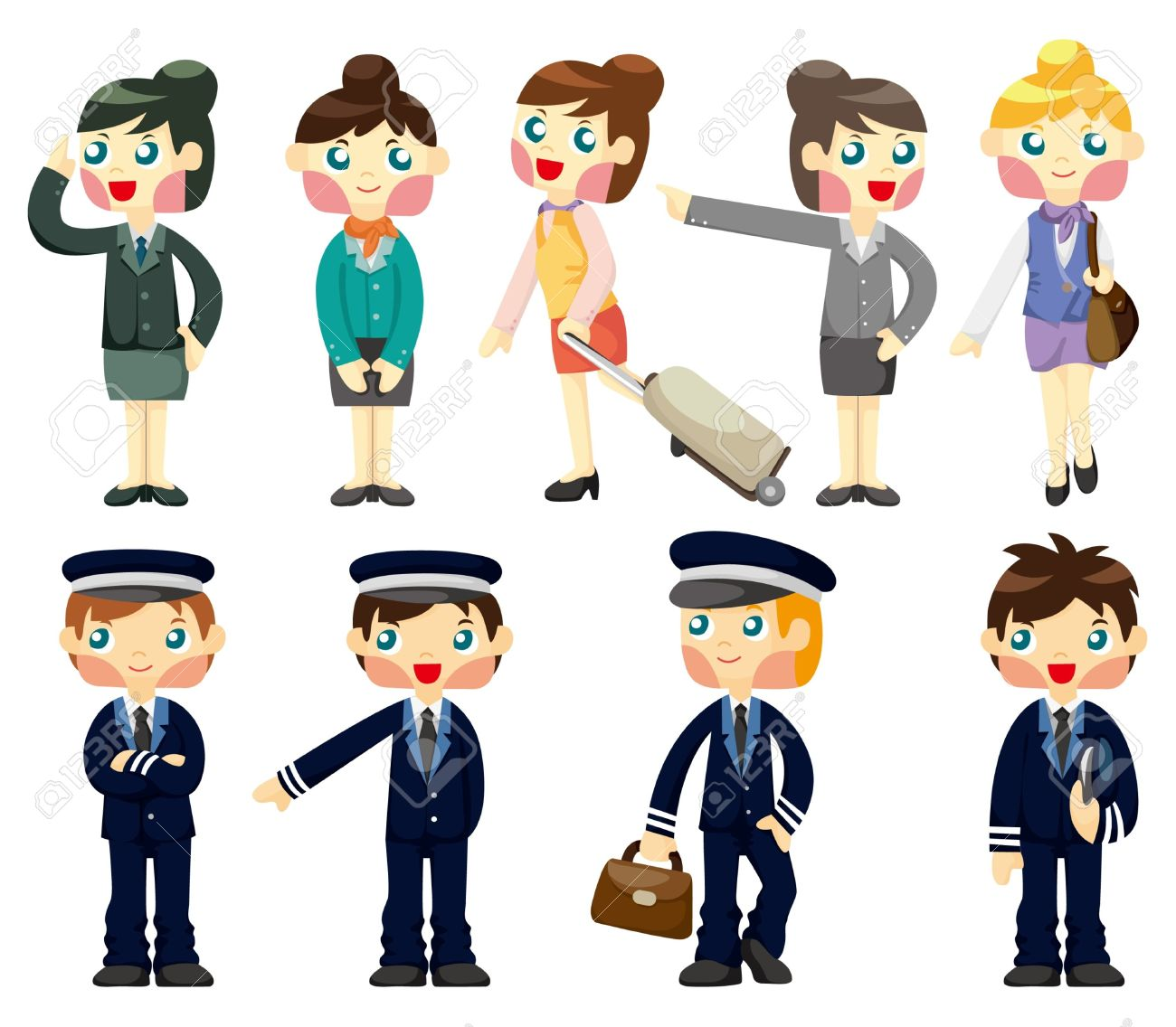 Cartoon Flight Attendant/pilot Icon Royalty Free Cliparts, Vectors.