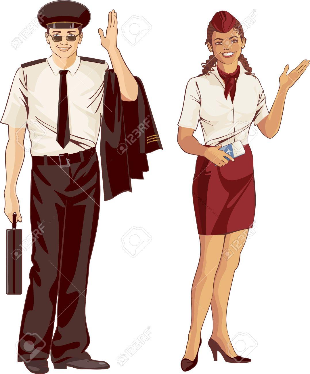 Male flight attendant clipart.