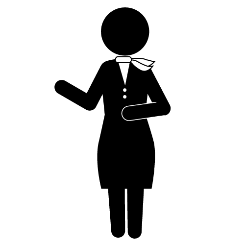 Flight attendant clipart black and white.