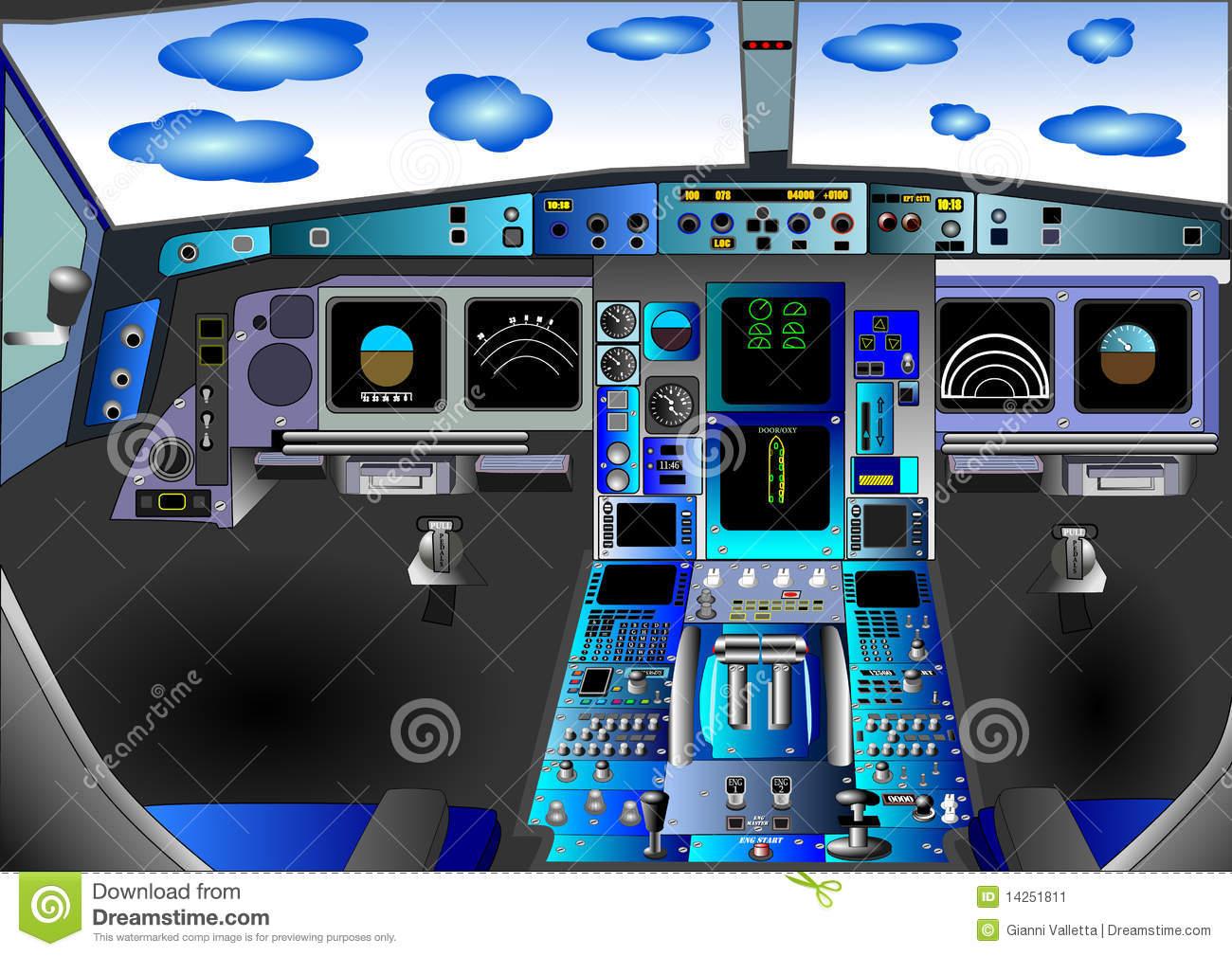 Illustration Vector Of Flight Deck Or Cockpit Stock Image.