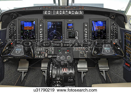 Stock Photograph of Flight deck of Beechcraft King Air C90GTi.