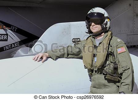 Stock Photographs of U.S. Navy Fighter Pilot.