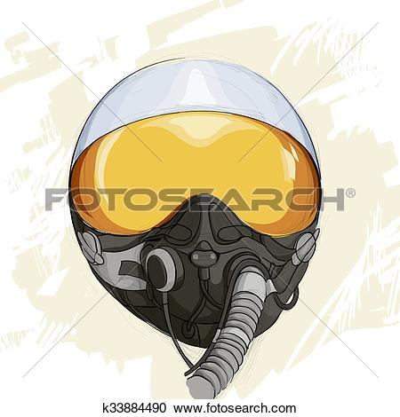 Clipart of Military flight helmet k33884490.