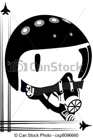 Vector Clipart of Helm of a fighter pilot.